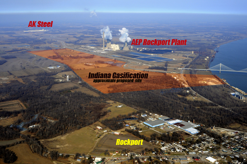 Already Rockport, Indiana sees annual toxic emissions of more than 30 million pounds from AK Steel and AEP's Rockport plant. Now, Governor Mitch Daniels and others want to see those emissions increase while also increasing winter heating expenses for Hoosiers through the construction of the proposed Indiana Gasification facility. Photo © 2011 John Blair
