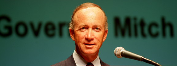 Indiana Governor Mitch Daniels had no problem betraying his conservative bonifides when it came to pushing to force his constituents to ensure that his good friend, Mark Lubbers got rich from the Indiana Gasification proposal at Rockport. Photo © 2007 John Blair.