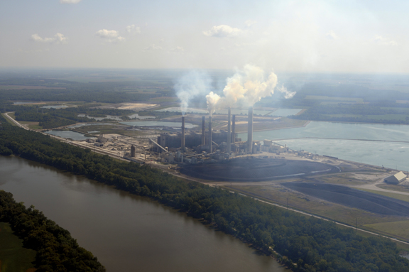 Duke's Gibson Station is the second largest coal plant in North America at 3,350 MegaWatts of production. It requires a 3,800 acre reservoir to cool the massive plant. Photo © 2013 John Blair.