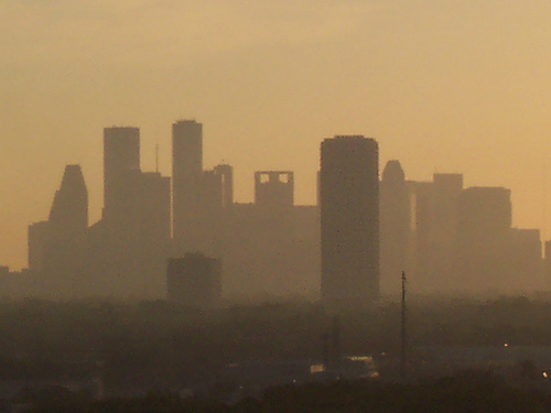 Houston's air is often smoggy, even more so than Evansville's. giving it the dubious distinction of being 8th most polluted according to the American Lung Association for high ozone days.