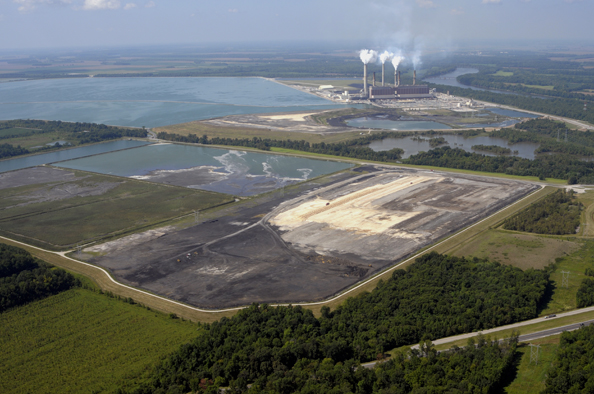 Coal ash and sludge lagoons, like those in the foreground of this picture at Duke Energy's Gibson Station near Princeton, IN have gone largely unregulated until now when EPA, under a legal settlement is required to issue rules for regulation of the hazardous material by December 19 of this year. File Photo © BlairPhotoEVV