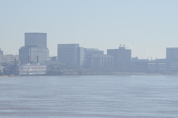 This picture was shot today (2/13/14) at approximately 10 AM. It was shot from the river bank looking almost due east toward downtown Evansville. Photo © 2014 BlairPhotoEVV.
