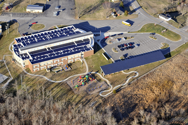 This school near Bowling Green, KY was outfitted by Evansville, Morton Solar and Wind and is actually not only saving energy but adding to the grid especially during the summer months when school is not in session. Photo © 2012 BLairPhotoEVV
